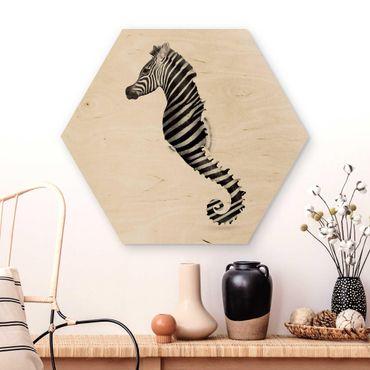 Esagono in legno - Seahorse Con Zebra Stripes