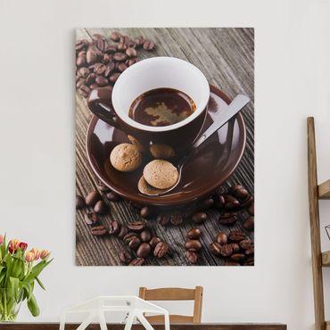 Stampa su tela - Fagioli della tazza di caffè con il caffè - Verticale 4:3