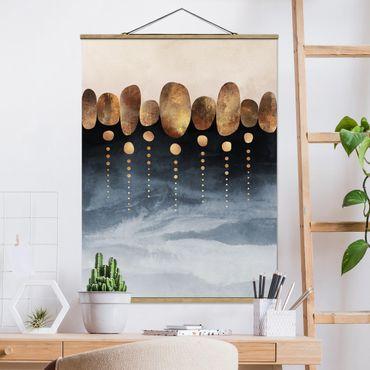 Foto su tessuto da parete con bastone - Elisabeth Fredriksson - Astratte Golden Stones - Verticale 4:3