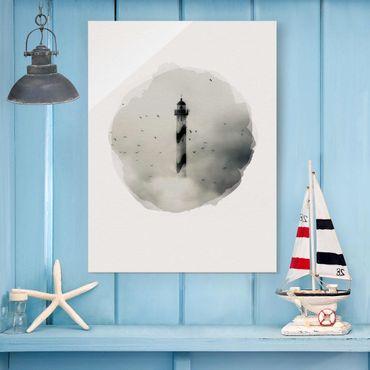 Quadro in vetro - Acquarelli - Faro nella nebbia - Verticale 4:3