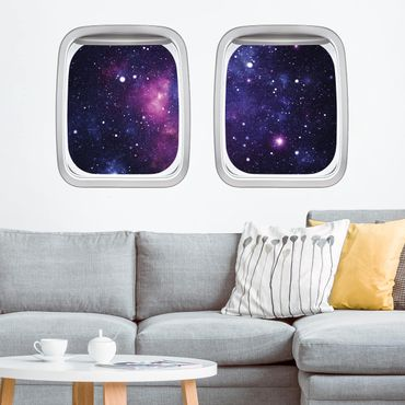 Adesivo murale 3D - Finestra Aereo Aircraft Galaxy
