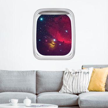 Adesivo murale 3D - Finestra Aereo Su Galassia Colorata