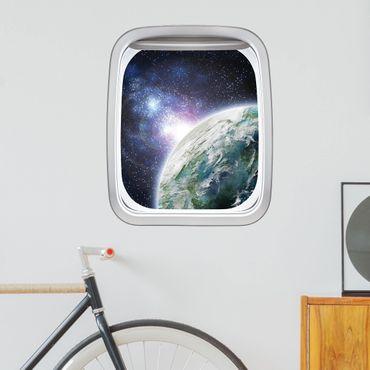 Adesivo murale 3D - Finestra Aereo Galaxy Light
