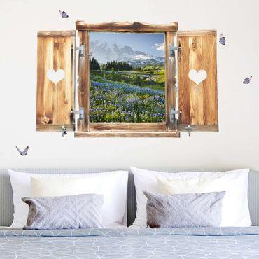 Trompe l'oeil adesivi murali - Finestra tirolese su campo fiorito