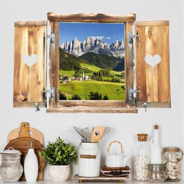 Trompe l'oeil adesivi murali - Finestra tirolese su montagne