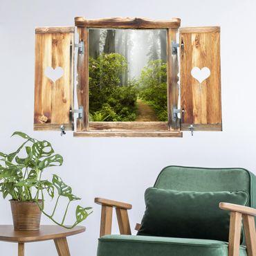 Trompe l'oeil adesivi murali - Finestra tirolese su sentiero