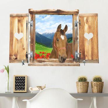 Trompe l'oeil adesivi murali - Finestra con cavallo su paesaggio alpino