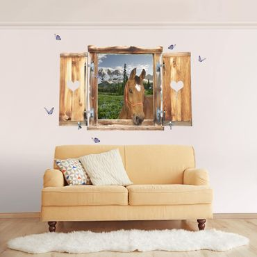 Trompe l'oeil adesivi murali - Finestra con cavallo su sentiero