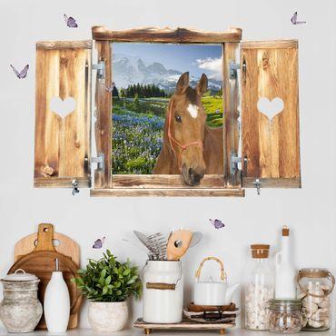 Trompe l'oeil adesivi murali - Finestra con cavallo su campo fiorito