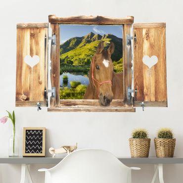 Trompe l'oeil adesivi murali - Finestra con cavallo su lago