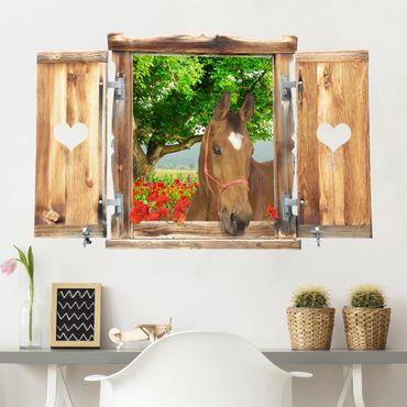 Trompe l'oeil adesivi murali - Finestra con cavallo su valle