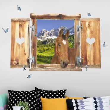 Trompe l'oeil adesivi murali - Finestra con cavallo su campo alpino