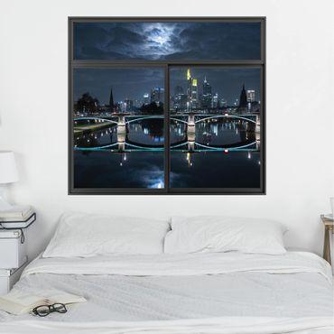 Trompe l'oeil adesivi murali - Finestra su Francoforte in luna piena