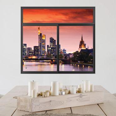 Trompe l'oeil adesivi murali - Finestra su Francoforte Skyline