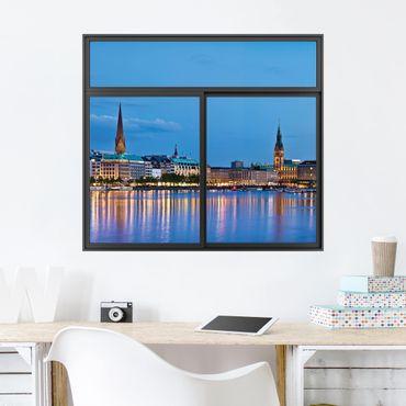 Trompe l'oeil adesivi murali - Finestra su Amburgo