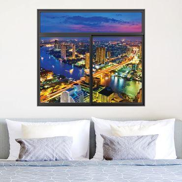 Trompe l'oeil adesivi murali - Finestra con vista su skyline