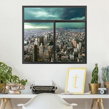 Trompe l'oeil adesivi murali - Finestra su New York in tempesta