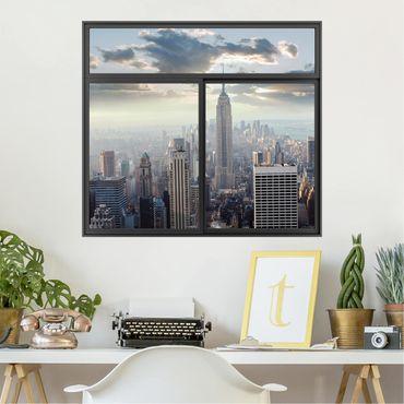 Trompe l'oeil adesivi murali - Finestra su New York all'alba