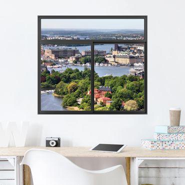 Trompe l'oeil adesivi murali - Finestra su Stoccolma