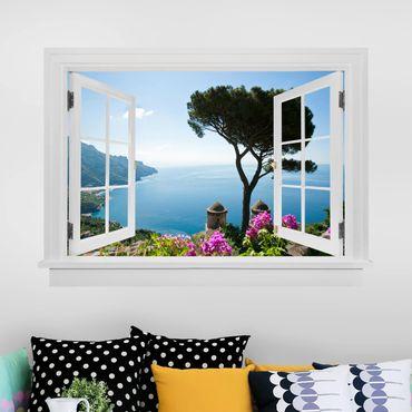 Trompe l'oeil adesivi murali - Finestra aperta sul mare dal giardino