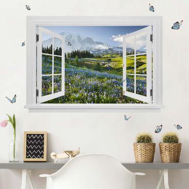 Trompe l'oeil adesivi murali - Finestra aperta su campo di fronte a Mt. Rainier