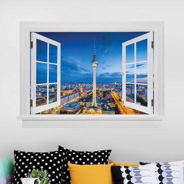 Trompe l'oeil adesivi murali - Finestra aperta su torre della televisione a Berlino