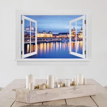 Trompe l'oeil adesivi murali - Finestra aperta su Canaletto di notte