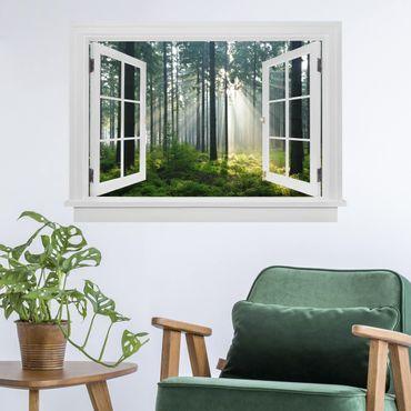 Trompe l'oeil adesivi murali - Finestra aperta su bosco