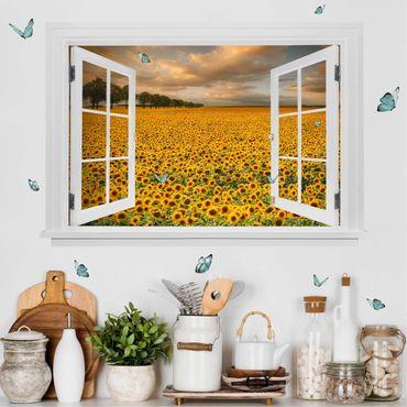 Trompe l'oeil adesivi murali - Finestra aperta su campo di girasoli