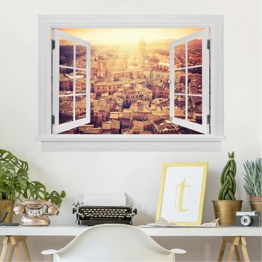Trompe l'oeil adesivi murali - Finestra aperta su Siena