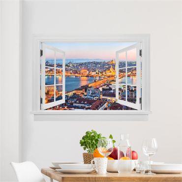 Trompe l'oeil adesivi murali - Finestra aperta su Istanbul