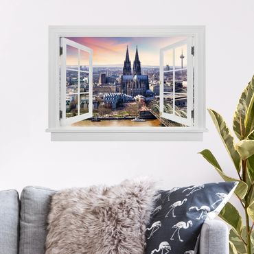 Trompe l'oeil adesivi murali - Finestra aperta su Colonia