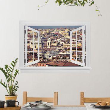 Trompe l'oeil adesivi murali - Finestra aperta sui tetti di Roma