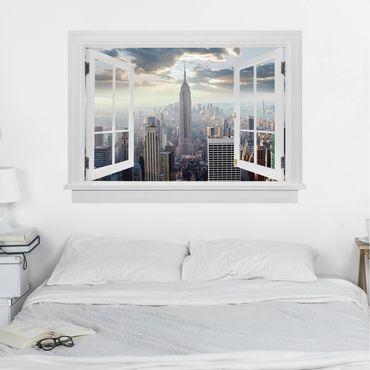 Trompe l'oeil adesivi murali - Finestra aperta su alba a New York