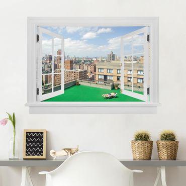 Trompe l'oeil adesivi murali - Finestra aperta su New York