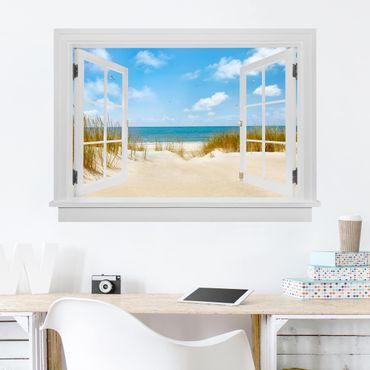 Trompe l'oeil adesivi murali - Finestra aperta su spiaggia nel Mare del Nord