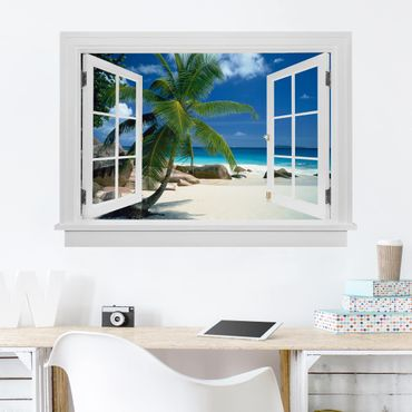 Trompe l'oeil adesivi murali - Finestra aperta su spiaggia da sogno