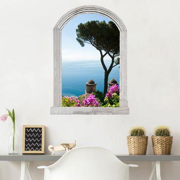 Trompe l'oeil adesivi murali - Finestra sul mare dal giardino