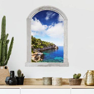 Trompe l'oeil adesivi murali - Finestra su Cala De Deia In Maiorca
