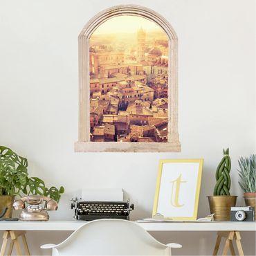 Trompe l'oeil adesivi murali - Finestra su Siena