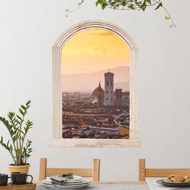 Trompe l'oeil adesivi murali - Finestra su Firenze
