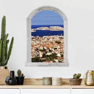 Trompe l'oeil adesivi murali - Finestra su Marsiglia