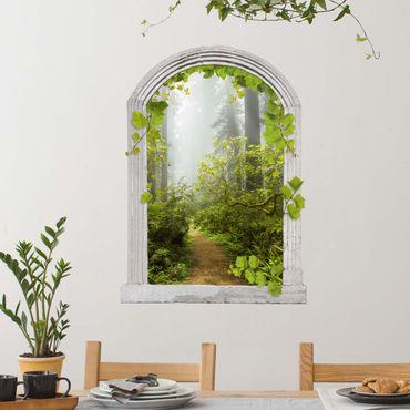 Trompe l'oeil adesivi murali - Finestra su vigneto nebbioso