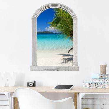Trompe l'oeil adesivi murali - Finestra sulle Maldive