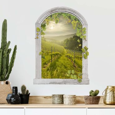 Trompe l'oeil adesivi murali - Finestra su vigneto soleggiato