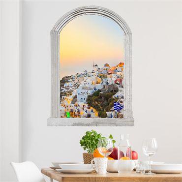 Trompe l'oeil adesivi murali - Finestra su Santorini illuminata