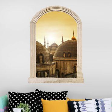 Trompe l'oeil adesivi murali - Finestra sopra i tetti di Istanbul