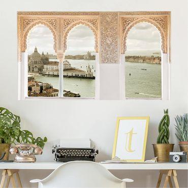Trompe l'oeil adesivi murali - Finestra sulla laguna veneziana