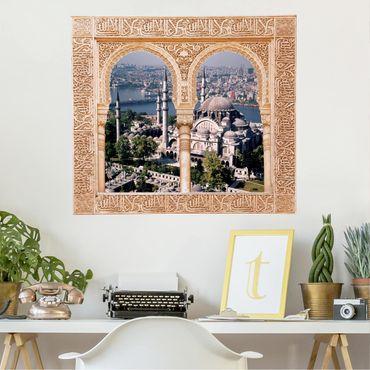 Trompe l'oeil adesivi murali - Finestra su moschea ad Istanbul