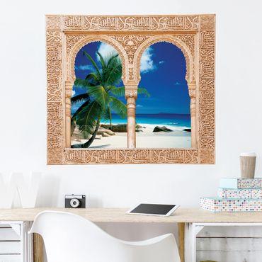 Trompe l'oeil adesivi murali - Finestra su spiaggia da sogno